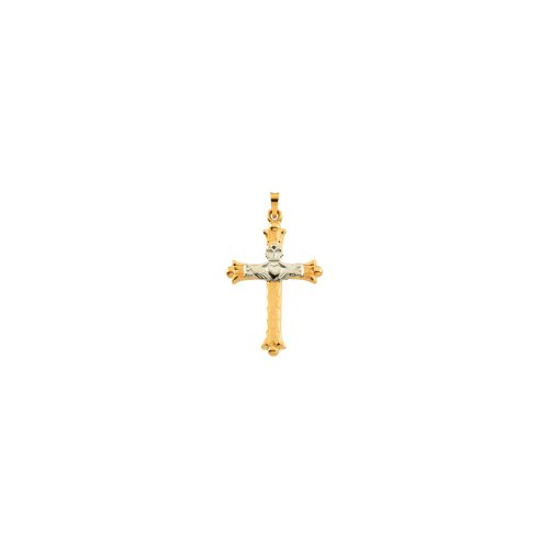 14K Yellow & White 32.5x23.5mm Hollow Claddagh Cross Pendant