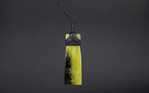 (Maori Toki Pendant Necklace with Adjustable Black Wax Cord, Nephrite Jade Carving, Unique Black with Green Unique Color, Axe Shape, For Men Women, 2.17
