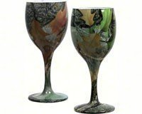 Set of 2 Camouflage Green Fall Pattern Leaves and Grass Wine Glasses