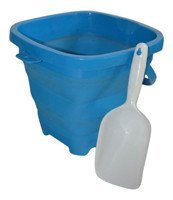 AquaVault Packable Pails. Collapsible Bucket with Shovel- Perfect for Travel in Aqua Blue by Packable Pails