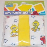 (Sesame Street Beginning 3 pack Terry Baby Infant Toddler Washcloths Baby Elmo, Baby Cookie Monster or Baby Big Bird - Assorted Styles)