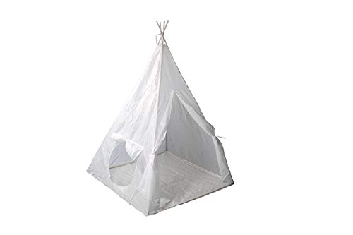 Albertino Teepee Play Tent for Kids and Toddlers Foldable Carry Bag Included Indian Playhouse White