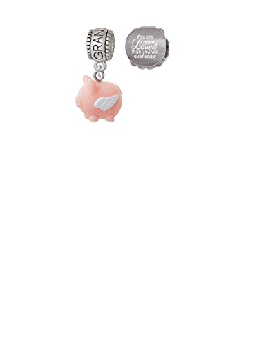 Pink Pig Charm - Resin Flying Pink Pig Grandmother Charm Bead with You Are More Loved Bead (Set of 2)