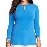 Matte Jersey 3/4 Sleeve Top (Lauren Ralph Lauren Womens Plus Matte Jersey Solid Keyhole Blouse Blue)