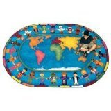 Joy Carpets Kid Essentials Early Childhood Hands Around The World Rug, Multicolored, 5'4'' x 7'8''
