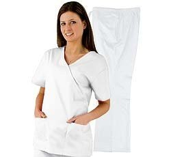 (Natural Uniforms Women's Mock Wrap Scrub Set (White) (Medium))