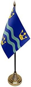 Flagmania® 12 Stück Cambridgeshire blau 15,2 x 10,2 cm Tischflaggen & Goldfarbene Kunststoffkegel + 59 mm Button Badge