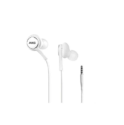 2019 Stereo Headphones for Samsung Galaxy S10 S10e S10 Plus – Designed by AKG – with Microphone (White)