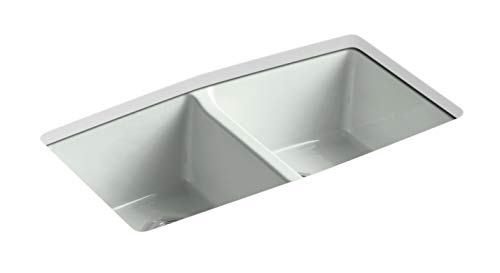 (KOHLER K-5846-5U-FF Brookfield Under-Mount Double-Equal Bowl Kitchen Sink with 5 Oversized Faucet Holes, Sea Salt )