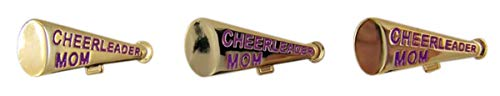 Gold-Toned and Purple Cheerleader Mom Megaphone Enamel Lapel Pins,1 1/4 Inch, Pack of 3