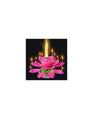 BeesClover 3 Velas de Flores de Loto Musicales Fiesta Romántica Sorpresa Luz de Regalo para Cumpleaños