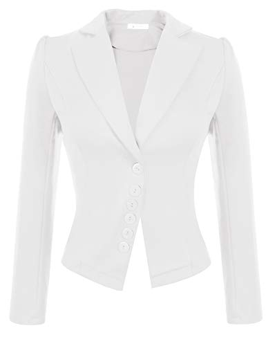 ACEVOG Women's Long Sleeve Blazer Casual Open Front Cardigan Jacket Work Office Blazer (White, X-Large)