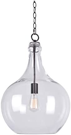 Kenroy Home 1 Light Pendant,22 Inch Height, 15 Inch Diameter with Oil Rubbed Bronze with Clear Glass 93186ORB