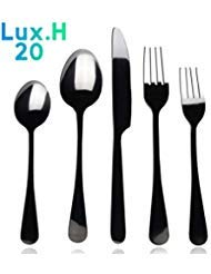 (Black Silverware set, Lux.H 20-piece Flatware Cutlery for 4 - including Stainless Steel Knife, Fork and Spoon - Utensils Dishwasher Safe (Polished Black))