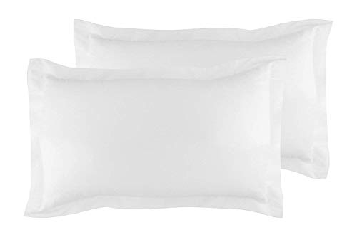 Queen Pillow Shams Set of 2 White Luxurious and Soft - Genuine 600 Thread Count 100% Pure Egyptian Cotton White Pillow Shams Queen Size 20X30 Gorgeous Decorative Bed Pillow Covers With 2 Inch Border