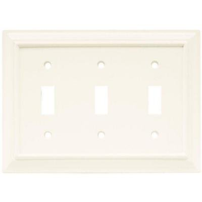 Hampton Bay Wood Architectural 3 Toggle Wall Plate - White by Hampton Bay