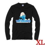 Cute The Smurf Style 100% Cotton Long-Sleeve T-Shirt-Clumsy Smurf Pattern/Size XL