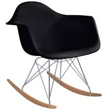 Nicer Furniture/® Eames Style Molded Modern Plastic Armchair-Rocking Mid Century Style Lounge Cradle Arm Chair-Contemporary Accent Retro Rocker Chrome Steel Eiffel Base-Ash Wood Rockers-Nursery Living Room-Matte Finish in Black