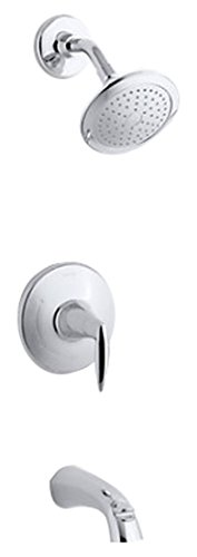 Kohler TS45104-4-CP Rite-Temp bath and shower valve trim with lever handle, spout and 2.5 gpm showerhead, 1, Polished Chrome