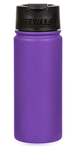 Fifty/Fifty 16oz, Double Wall Vacuum Insulated Café Water Bottle, Stainless Steel, Flip Cap w/Wide Mouth, Royal Purple,...