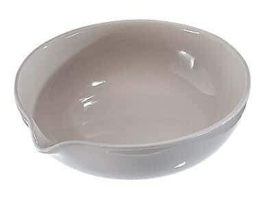 CoorsTek 60233 Porcelain Ceramic Shallow Form Evaporating Dish with Pouring Lip, 100mL Capacity