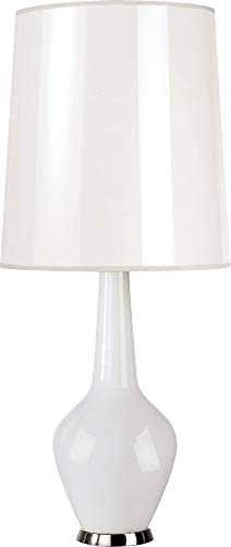 Capri Nickel Table Lamp - Robert Abbey WH730 Lamps with Translucent Ceramik Blanco Parchment Shades, White Cased Glass/Polished Nickel Accents Finish