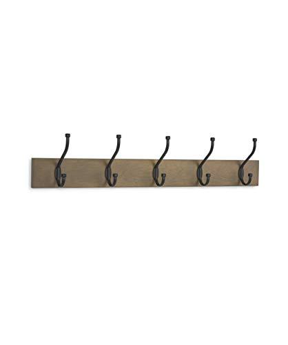 - AmazonBasics Wall Mounted Coat Rack - 5 Standard Hook, Barnwood, 2-Pack