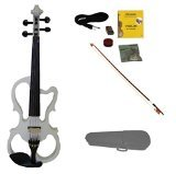 Merano MVE10WT-A 4/4 Full Size Ebony Fitted Electric Silent Violin with Case and Bow, Rosin, Extra Strings, White