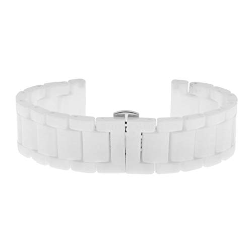 Prettyia Ceramic Bracelet Watch Band Strap Stainless Steel Deployment Butterfly Clasp - 14mm White, ()