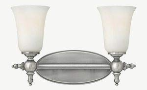 Yorktown Vanity - Hinkley 5742AN Transitional Two Light Bath from Yorktown collection in Pwt, Nckl, B/S, Slvr.finish,