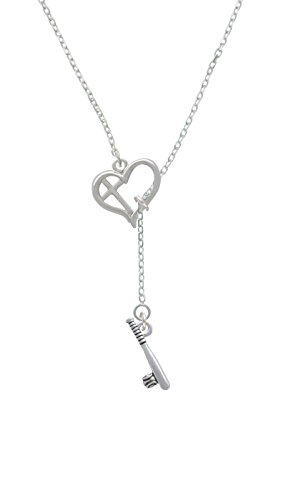 Ball In Lariat Necklace (Bat and Ball Cross in Heart Lariat)