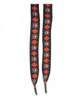 Outer Rebel Fashion Shoelaces- Black With Red Skully Argyle