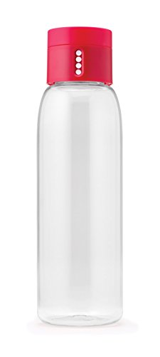 Joseph Joseph 81051 Dot Hydration-Tracking Water Bottle Counts Water Intake Tracks Consumption On Lid Twist Top, 20-ounce, Pink - Dot Twist