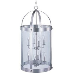 Maxim 21556CLSN Tara 8-Light Pendant, Satin Nickel Finish, Clear Glass, CA Incandescent Incandescent Bulb , 40W Max., Dry Safety Rating, 2900K Color Temp, Standard Dimmable, Glass Shade Material, 500 Rated (Tara Nickel Pendant)