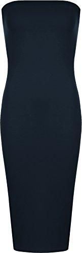 36 Femmes Bleu moulante Marin Plaine stretch WearAll Tailles Robes Robes Boob Midi 42 longue Tube bretelles Femmes SFwcO4q