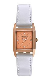 Ted Baker Women's TE2099 Vintage Rose Gold Case and Dial White Strap Watch