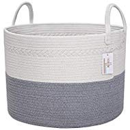 Know How Organizers Woven Cotton Rope Basket, XXL Blanket Basket, Long Handles, Laundry Basket, Decorative Nursery Hamper, Baby Toy Basket, Dog Toy Basket, Gray White 20'' x 13'' Wide Extra Large