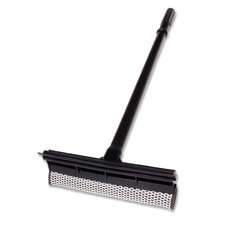 Unger Professional : Plastic Squeegee/Scrubber, 24'' Wood Handle, Black -:- Sold as 2 Packs of - 1 - / - Total of 2 Each