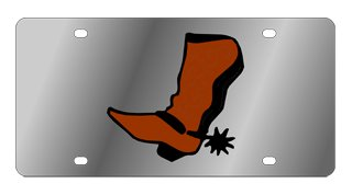 Cowboy Boot Stainless Steel License Plate