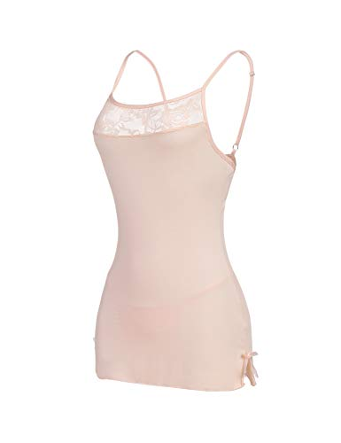 Avidlove Women Lace Lingerie Chemises Slip Babydoll Mini Sleepwear Apricot Medium ()
