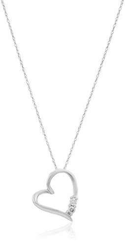 10k Heart Necklace - 10k White Gold Diamond 2-Stone Heart Pendant Necklace (1/10cttw, I-J Color, I2-I3 Clarity)