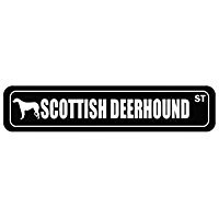 (Scottish Deerhound Street Silhouette - Dogs - Street Sign [ Decorative Crossing Sign Wall Plaque ])
