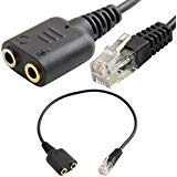 (SuperWhole Headset Cable 2 X 3.5mm to RJ9 Jack Adapter Convertor PC Headset Telephone Using)