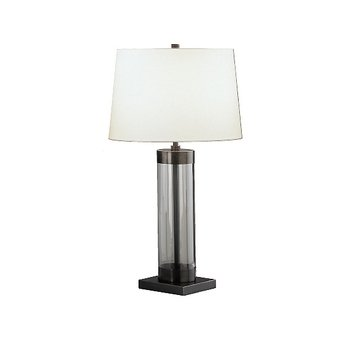 Robert Abbey Z3318 Lamps with Off White Cotton Shades, Clear Glass Cylinder/Deep Patina Bronze Finish ()