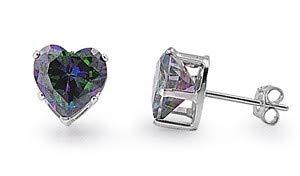 Glitzs Jewels 925 Sterling Silver Cubic Zirconia CZ Stud Earrings for Women Heart 6mm Rainbow