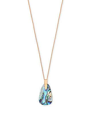 (Kendra Scott Maeve Long Pendant Necklace in Abalone in Rose Gold)