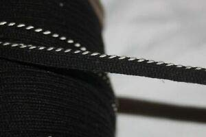 5 Yards White Black Cotton Lip Cord Piping Upholstery Non Stretch Trim 7/16
