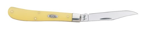 Case Cutlery 031 Case Slimline Trapper Pocket Knife with Chrome Vanadium Blade, Yellow Synthetic, Outdoor Stuffs