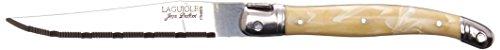 Jean Dubost Laguiole De Table Steak Knives in Wooden Box, Ivory Handles, Set of 6