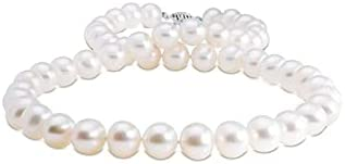 """White Freshwater AA Quality Cultured Pearl Necklace with a 14k White Gold Clasp (9-10mm) 18"""""""